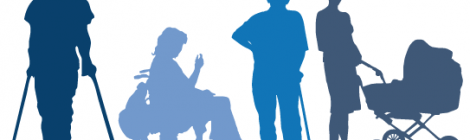 Clip art showing people with different access needs in sillhouette. Left to right: a person on crutches, a person in a wheelchair, a person with a cane, a person pushing a pram