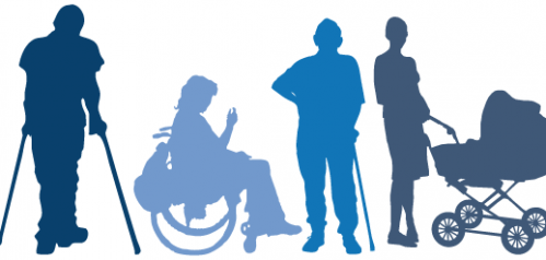Clip art of sillhouetted people with a variety of access needs
